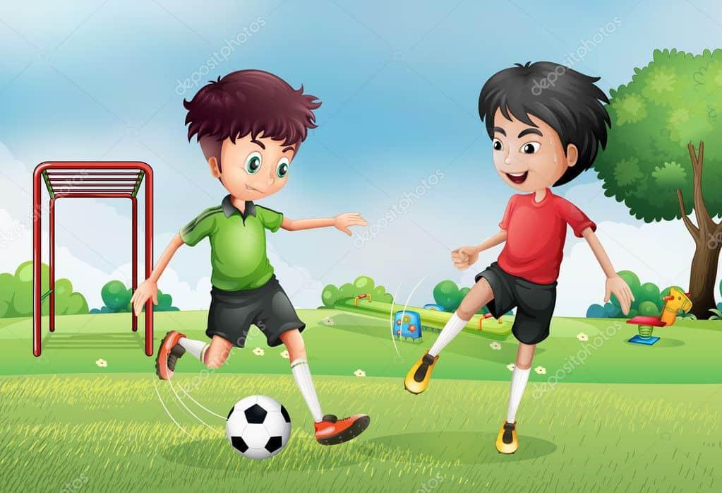 لعب الاولاد الكرة